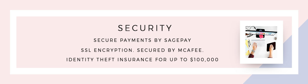 Secure payments by Sage Pay. SSL encryption. McAfee secured. Your personal data is insured for up to $100,000