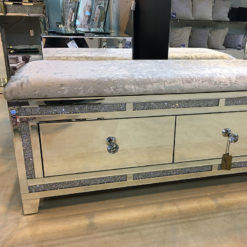 Crystal Diamond 2 Drawer Crushed Velvet Bench