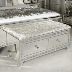 Diamond Glitz 2 Drawer Crushed Velvet Mirrored Bench