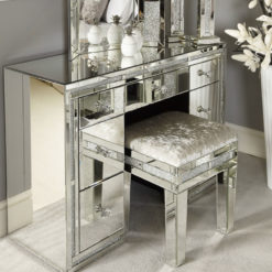 Diamond Glitz Mirrored 7 Drawer Dressing Table