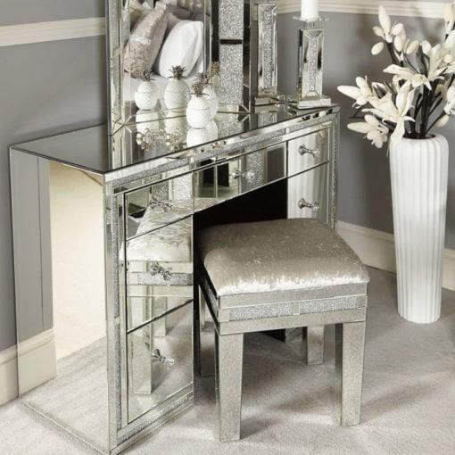 Diamond Glitz Mirrored 7 Drawer Dressing Table