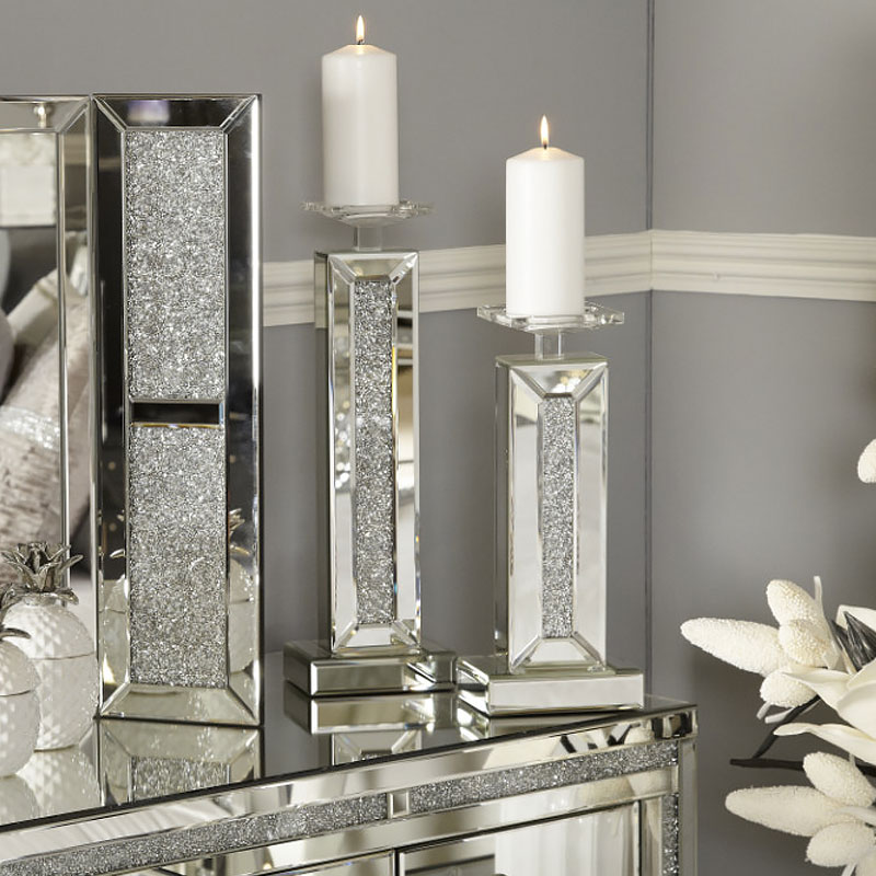 Diamond Glitz Mirrored Small Candle Holder Picture