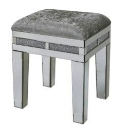Crystal Diamond Mirrored Upholstered Stool