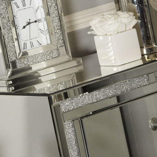Diamond Glitz 4 Drawer Mirrored Tallboy Chest