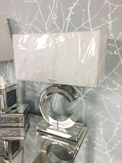 Diamond Glitz Mirrored 'C' Table Lamp Small