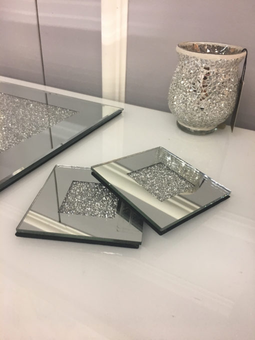 Diamond Glitz Set of 4 Mirrored Coasters