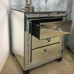 Diamond Glitz Mirrored 3 Drawer Bedside Cabinet