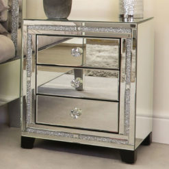 Diamond Glitz Mirrored 3 Drawer Bedside Cabinet