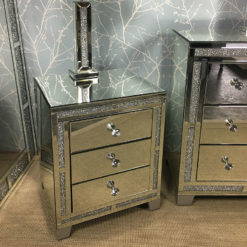 Diamond Glitz Mirrored 3 Drawer Bedside Cabinet With Bespoke Silver Feet