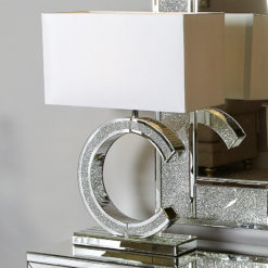 Diamond Glitz Mirrored 'C' Table Lamp Medium