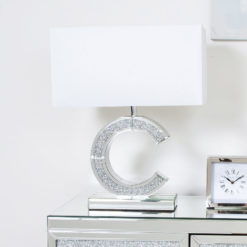 Diamond Glitz Mirrored C Table Lamp Small