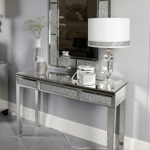 Diamond Glitz Mirrored Console/Dressing Table