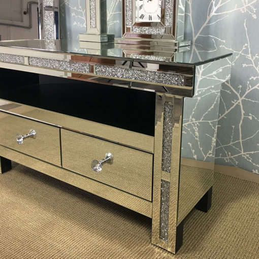 Diamond Glitz Mirrored Corner TV Cabinet