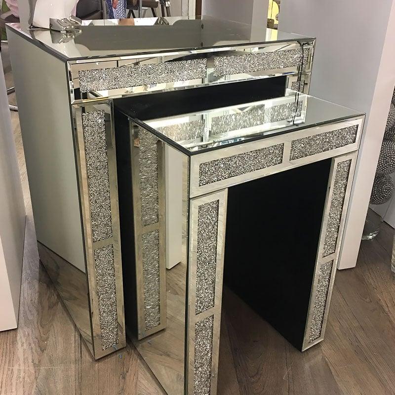Diamond Glitz Mirrored Nest Of 2 Tables Picture Perfect Home