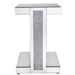 Diamond Glitz Mirrored Pedestal End Table