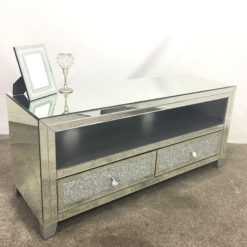 Diamond Glitz Mirrored TV Cabinet Stand With bespoke silver shelf & feet
