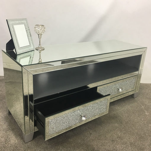 Diamond Glitz Mirrored TV Cabinet Stand