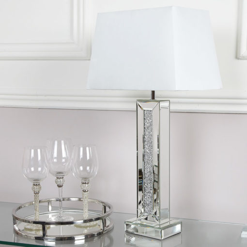 Diamond Glitz Mirrored Table Lamp 13""