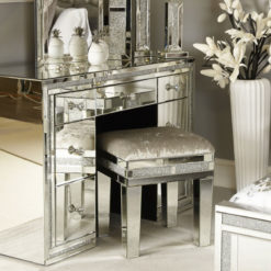 Diamond Glitz Mirrored Upholstered Stool
