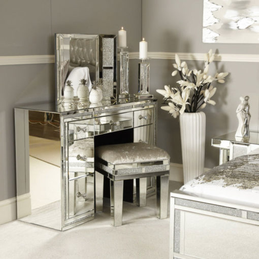 Diamond Glitz Mirrored Upholstered Stool