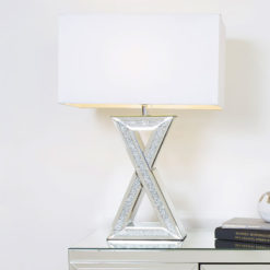 Diamond Glitz Mirrored X Table Lamp