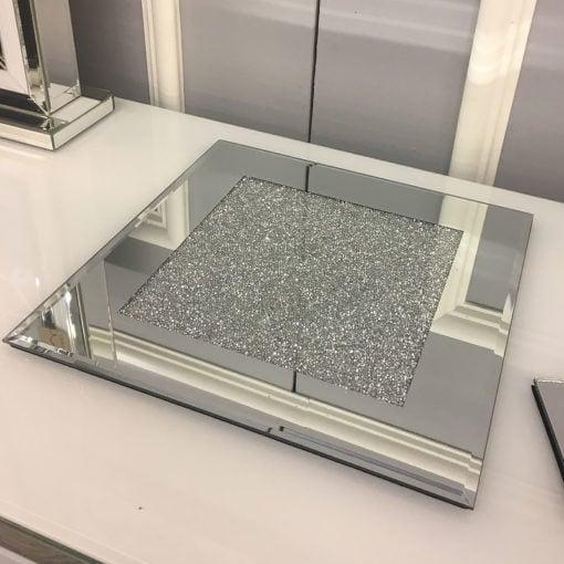 Diamond Glitz Silver Mirrored Candle Plate
