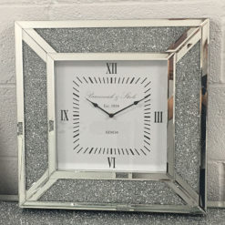 Diamond Glitz Silver Mirrored Wall Clock