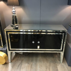 Madison Black Glass 2 Drawer Cabinet