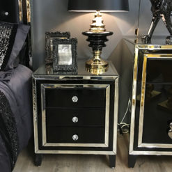 Madison Black Glass 3 Drawer Mirrored Bedside Cabinet