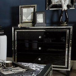 Madison Black Glass 3 Drawer Mirrored Chest