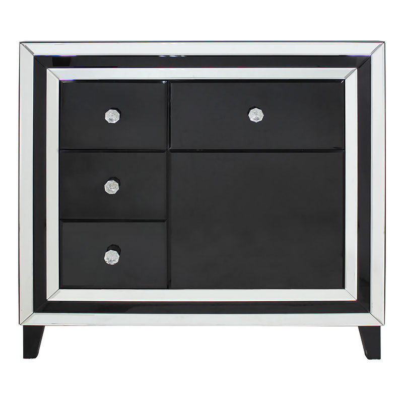 Mirrored Glass Kitchen Cabinets: Madison Black Glass Mirrored 4 Drawer 1 Door Cabinet