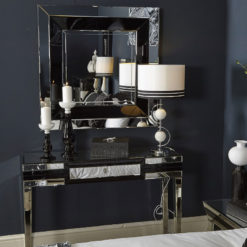Madison Black Glass Mirrored 1 Drawer Console Table