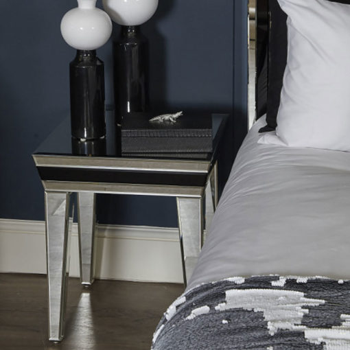 Madison Black Glass Mirrored End Table