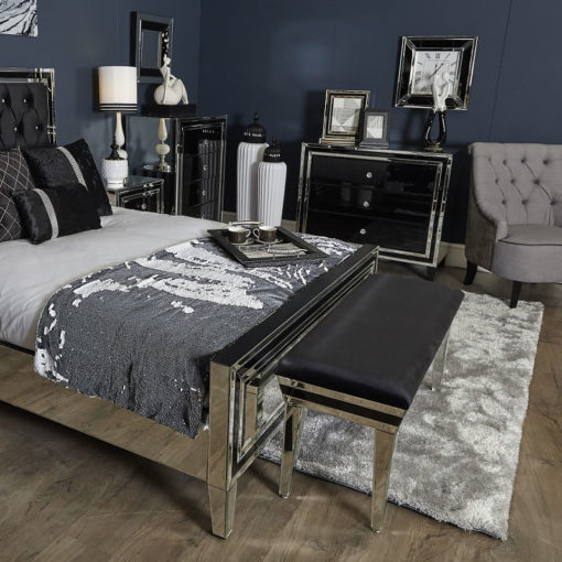 Madison Black Glass Mirrored Upholstered Bench