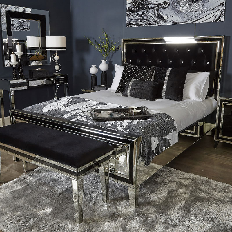 madison black and mirrored king size bed frame picture 12428 | madison black and mirrored king size bed frame 2