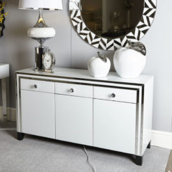 Madison White 3 Door Mirrored Sideboard