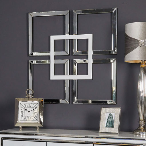 Madison White & Silver Mirrored Geo Mirror Wall Art Home Decor Picture