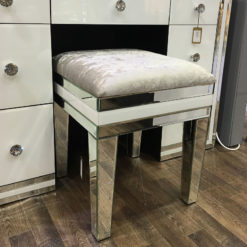 Madison White Crushed Velvet Stool
