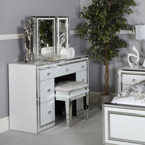 Madison White Crushed Velvet Mirrored Stool