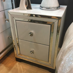 Madison White Glass 2 Drawer Mirrored Cabinet