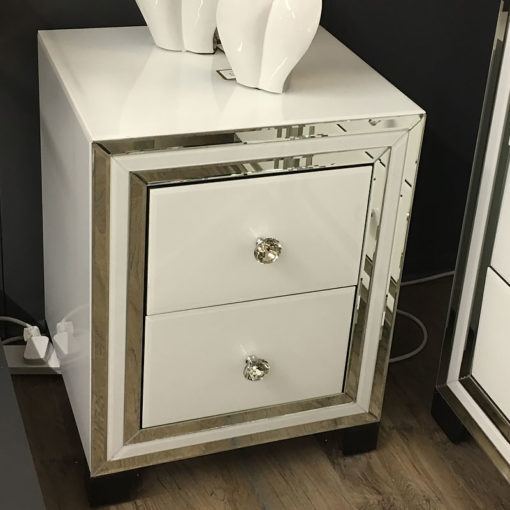 Madison White Glass 2 Drawer Mirrored Bedside Cabinet