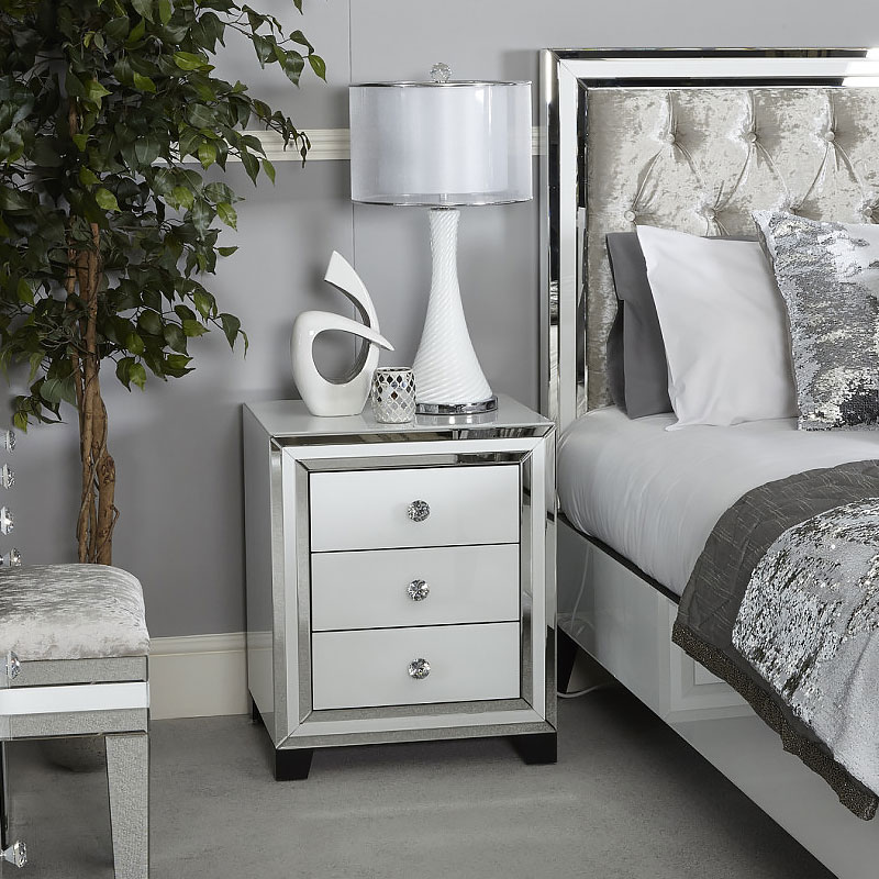 Madison White Glass 3 Drawer Mirrored Bedside Cabinet | Picture Perfect Home