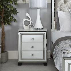 Madison White Glass 3 Drawer Bedside Cabinet
