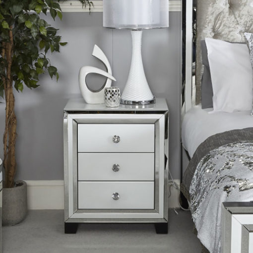 Madison White Glass 3 Drawer Mirrored Bedside Cabinet