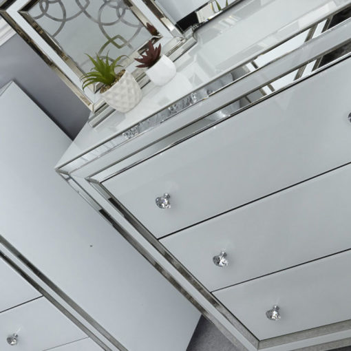 Madison White Glass 3 Drawer Mirrored Chest