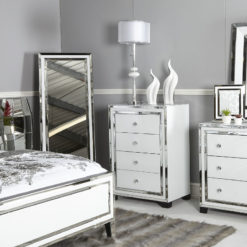 Madison White Glass 4 Drawer Cabinet