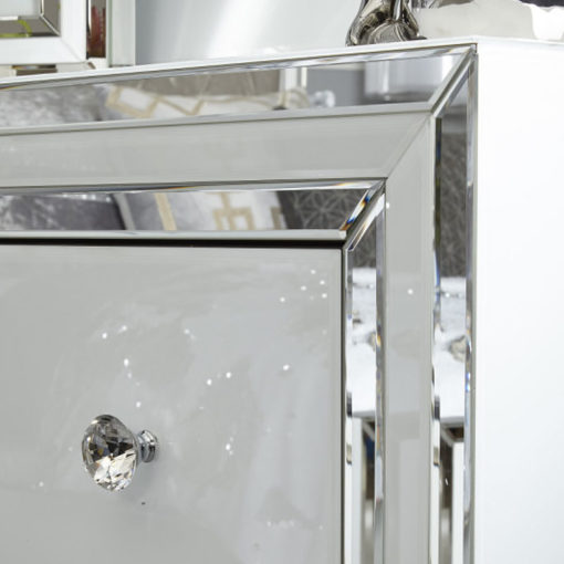 Madison White Glass 4 Drawer Mirrored Cabinet
