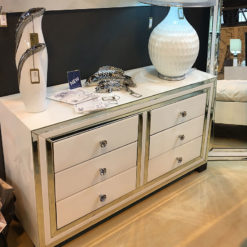 Madison White Glass 6 Drawer Mirrored Cabinet