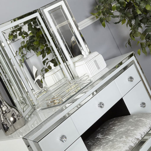 Madison White Glass 7 Drawer Mirrored Dressing Table
