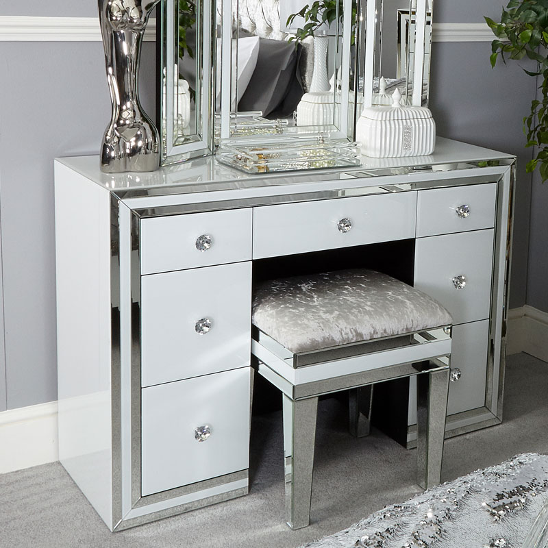 madison white glass 7 drawer mirrored dressing table. Black Bedroom Furniture Sets. Home Design Ideas
